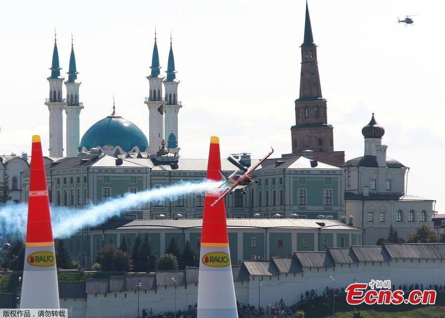 Nicolas Ivanoff of France flies with his Edge 540 V2 plane during the Red Bull Air Race World Championship in Kazan in Kazan, Russia August 26, 2018. (Photo/Agencies)