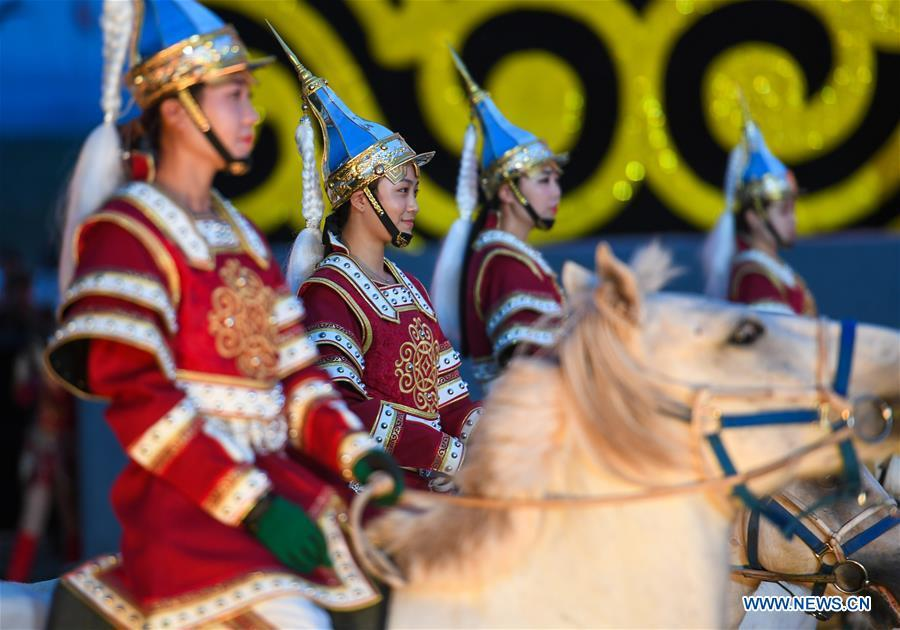 Equestrian performers attend the opening ceremony of a horse-themed art week in Hohhot, capital of north China\'s Inner Mongolia Autonomous Region, Aug. 27, 2018. Kicked off here on Monday, the art week will include art performances, beer and food festival, and equestrian performances. (Xinhua/Peng Yuan)