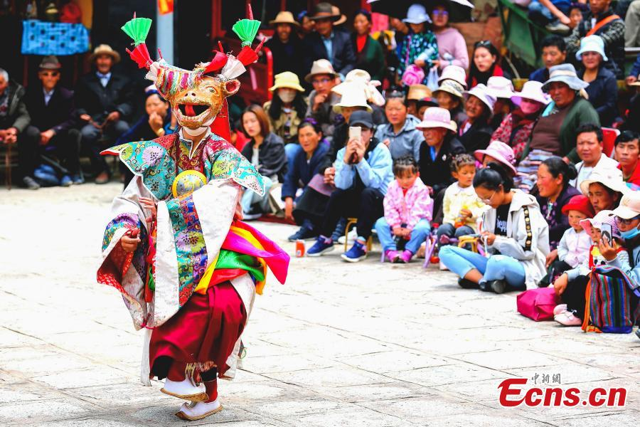 The annual cham dance at a monastery in Qonggyai County, Southwest China\'s Tibet Autonomous Region. The dance, called \