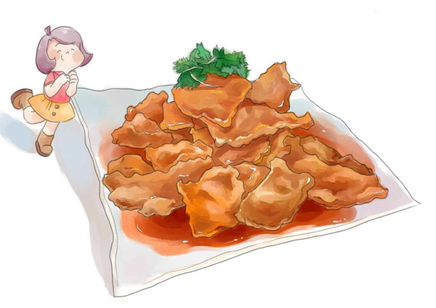 This drawing depicts a famous dish in Northeast China called \