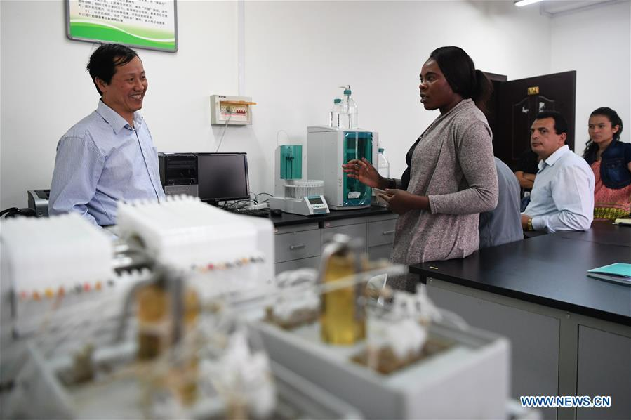 Nakanyala Elina Shekupe (2nd L) learns technology on desertification combating at a lab in northwest China\'s Gansu Province, Aug. 27, 2018. Shekupe, 37, is an agricultural technology official from Namibia. She and 11 other students are taking part in a desertification combating and ecological restoration training course organized by China\'s Ministry of Commerce in Gansu. \
