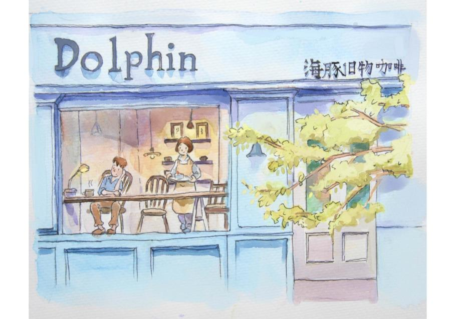 This drawing depicts a local café. (Photo provided to chinadaily.com.cn)
