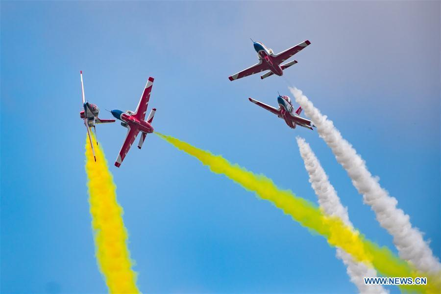 Red Falcon Air Demonstration Team performs during an activity of opening day at the Aviation University of Air Forces in Changchun, capital of northeast China\'s Jilin Province, Aug. 30, 2018. (Xinhua/Yang Pan)