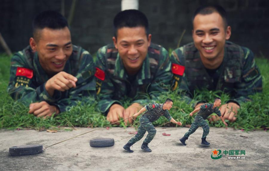 Time to leave the barracks! Soldiers from Chongqing Armed Police Corps took a series of creative photos to honor the memory of their days in the army. Using a photo editor, the soldiers created scenes of them looking back on fond memories. (Photos/81.cn)