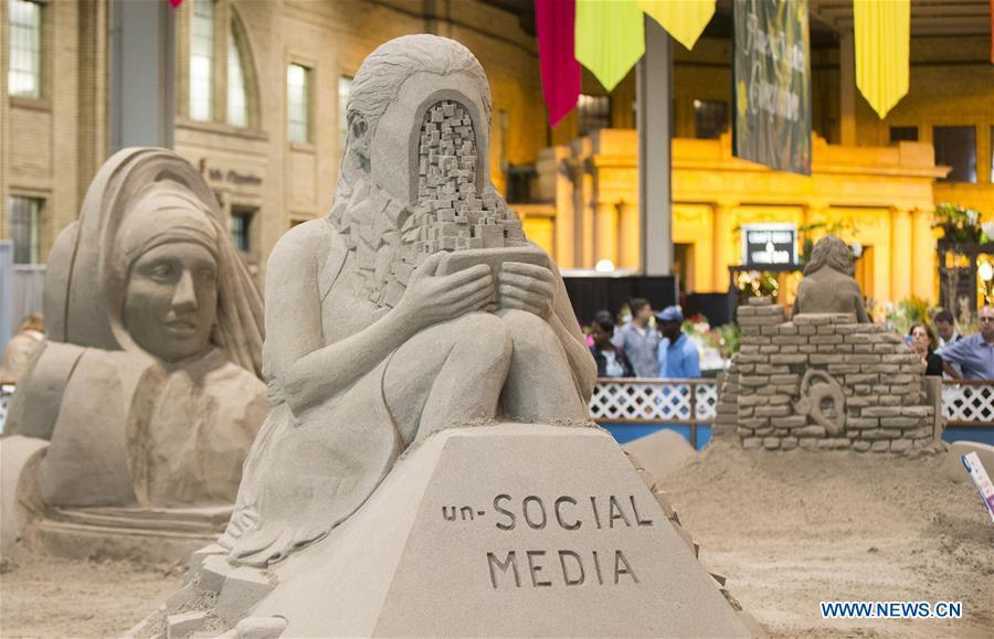 Photo taken on Aug. 30, 2018 shows sand sculptures in the International Sand Sculpting Competition at the 2018 Canadian National Exhibition in Toronto, Canada, Aug. 30, 2018. From Aug. 17 to Sept. 3, sand sculpting artists from the Netherlands, Russia, the United States and Canada challenged to create \