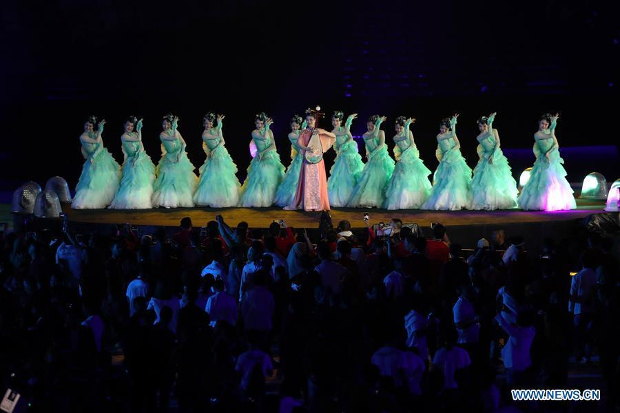Photo taken on Sept. 2, 2018 shows the Hangzhou 2022 presentation during the closing ceremony of the 18th Asian Games at the Gelora Bung Karno (GBK) Main Stadium in Jakarta, Indonesia.(Xinhua/Ding Ting)