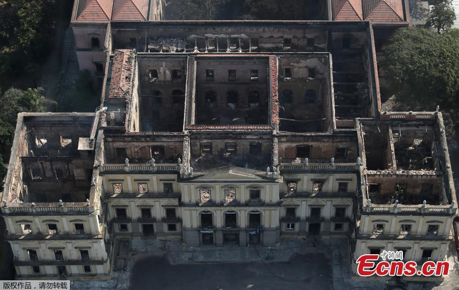 An aerial view of the National Museum of Brazil after a fire burnt it in Rio de Janeiro, Brazil September 3, 2018. (Photo/Agencies)
