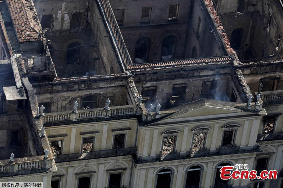An aerial view of the National Museum of Brazil after a fire burnt it in Rio de Janeiro, Brazil September 3, 2018.(Photo/Agencies)