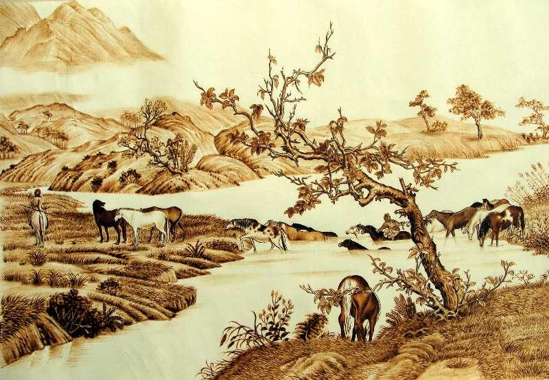 A pyrography artwork created by Zhang Ge. (Photo provided to chinadaily.com.cn)