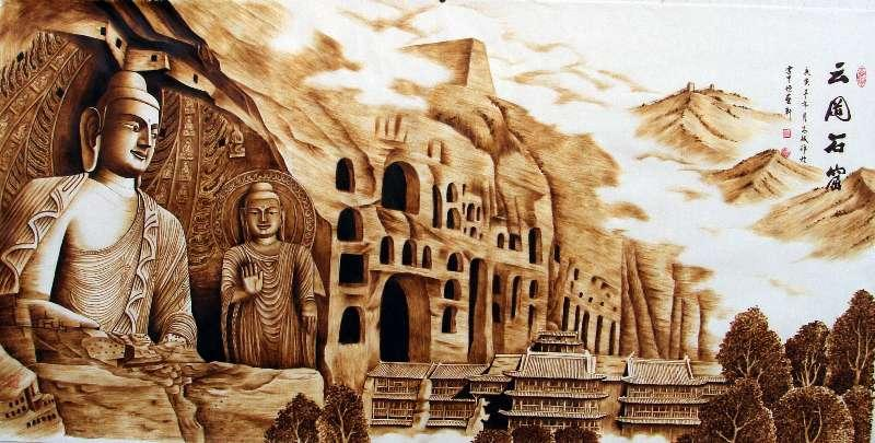Yungang Grottoes created by Zhang Ge. (Photo provided to chinadaily.com.cn)