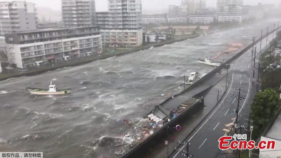 Boats float along with debris during Typhoon Jebi in Nishinomiya City, Hyogo Prefecture, Japan September 4, 2018, in this still image taken from a video obtained from social media.(Photo/Agencies)
