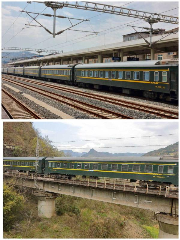 Iconic 'green' trains on Baocheng Railway 2017 (Photo by Bruce Connolly/chinadaily.com.cn)