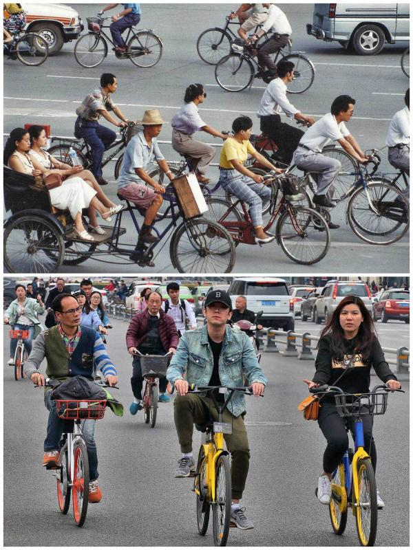 Cycling at Tianfu Square 1994 and 2017 (Photo by Bruce Connolly/chinadaily.com.cn)