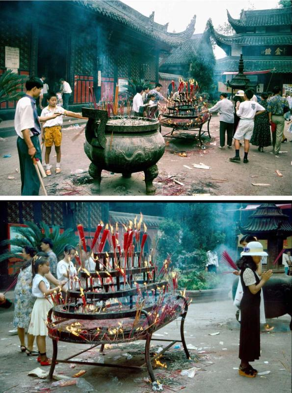 Scenes within Wenshu Yuan Temple 1994 (Photo by Bruce Connolly/chinadaily.com.cn)