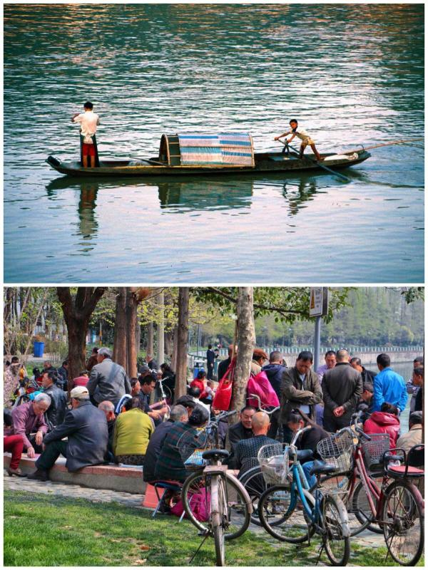 Fishing on Jinjiang River 1993. Local people socialising beside the river 2017 (Photo by Bruce Connolly/chinadaily.com.cn)