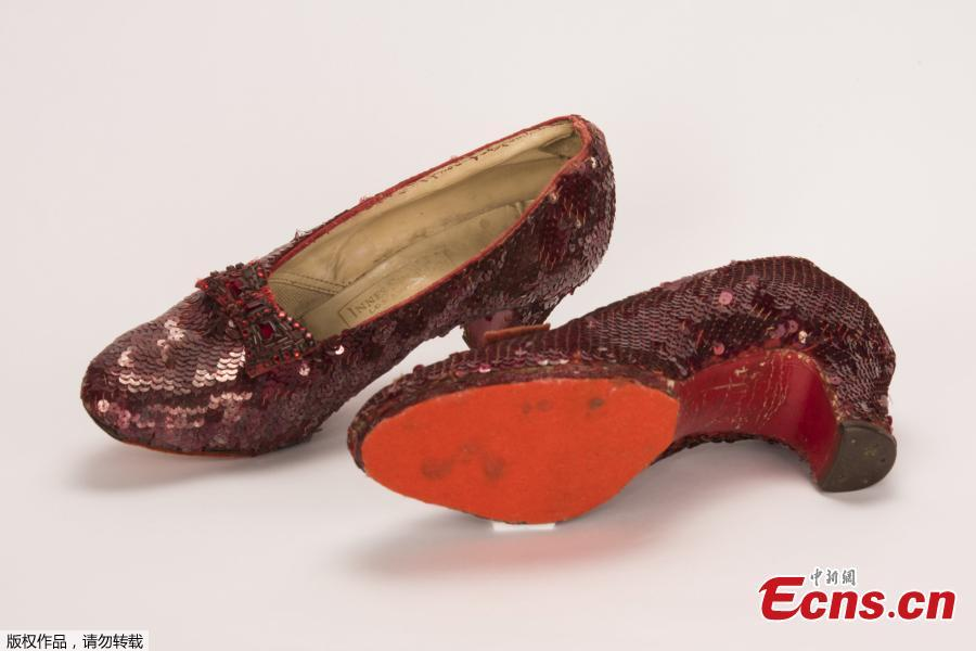 A pair of ruby slippers once worn by actress Judy Garland in the \