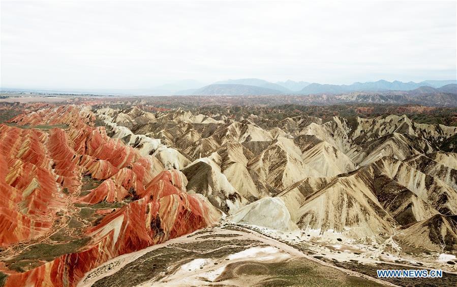 Aerial photo taken on Sept. 5, 2018 shows the scenery of Danxia landform in Zhangye City, northwest China\'s Gansu Province. (Xinhua/Wei Hai)