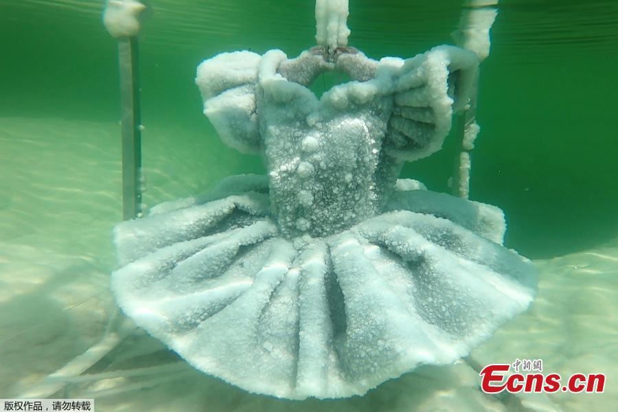 One of Israeli artist Sigalit Landau\'s pieces, a shoe covered in salt crystal formations, is released from its anchorage in the hyper-saline waters of the Dead Sea, Israel, Aug. 30, 2018, in this still image taken from a video. (Photo/Agencies)