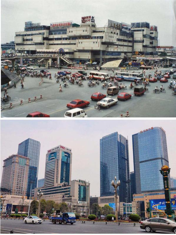 Chengdu modernity 1994 and 2017  (Photo by Bruce Connolly/chinadaily.com.cn)