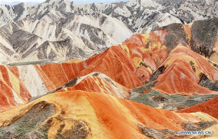 <?php echo strip_tags(addslashes(Photo taken on Sept. 5, 2018 shows the scenery of Danxia landform in Zhangye City, northwest China's Gansu Province. (Xinhua/Wei Hai))) ?>