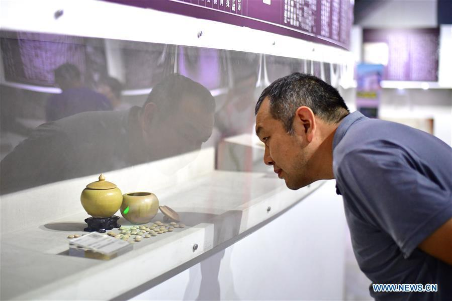 A man looks at pots filling with Go pieces at Go (Weiqi) museum in Luoyang, central China\'s Henan Province, Sept. 5, 2018. The private museum displays about 25,000 exhibits relating to Go game in China. (Xinhua/Feng Dapeng)