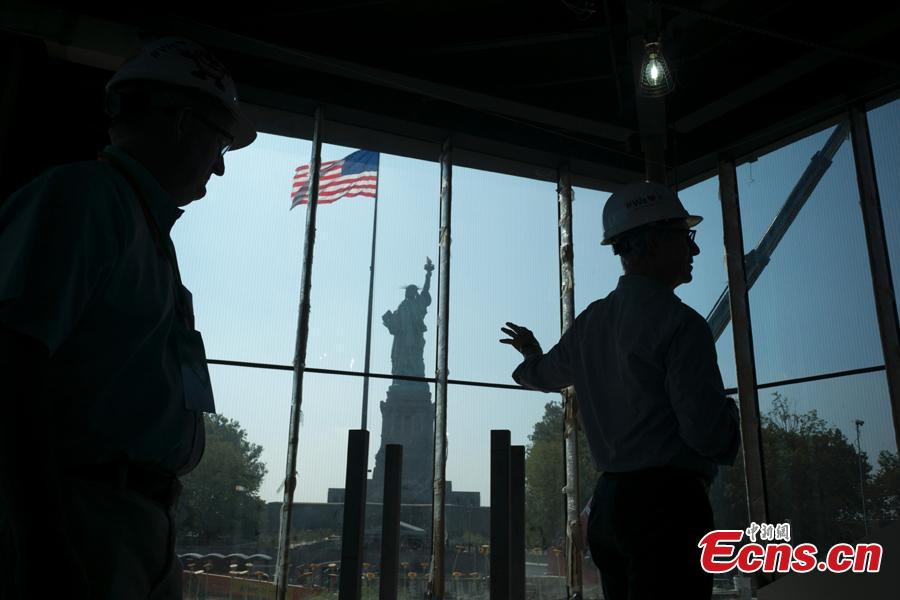 A view of the Statue of Liberty Museum under expansion in New York City, the United States, Sept. 6, 2018. The existing museum inside The Statue of Liberty can only accommodate a fraction of visitors. The new museum, on track to open in May of 2019, will create three significant gallery spaces. (Photo: China News Service/Liao Pan)