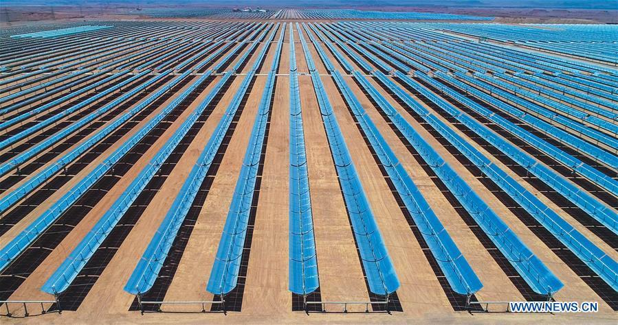 Photo provided by Shandong Electric Power Construction Co., Ltd (SEPCO III) shows part of Morocco\'s NOOR II Concentrated Solar Power (CSP) project in Ouarzazate, Morocco, on June 7, 2018. (Xinhua)