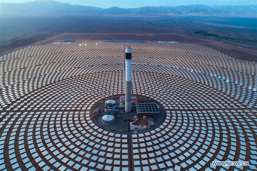 Photo provided by Shandong Electric Power Construction Co., Ltd (SEPCO III) shows part of Morocco\'s NOOR III Concentrated Solar Power (CSP) project in Ouarzazate, Morocco, on June 7, 2018. (Xinhua)