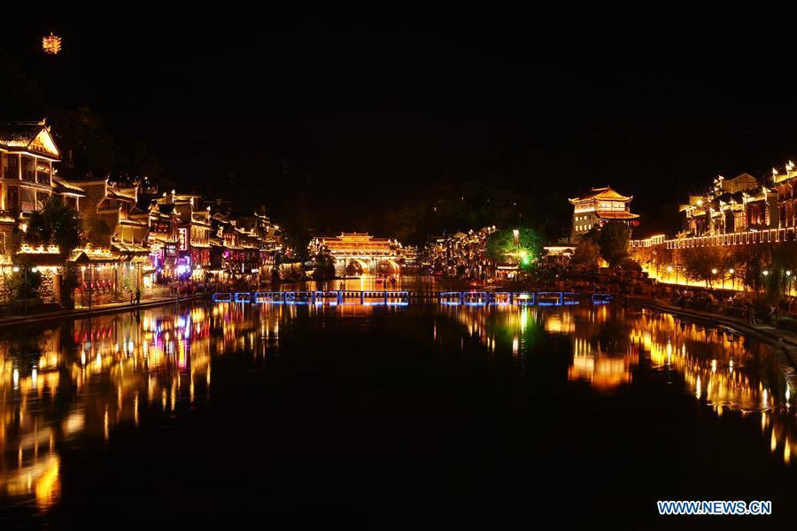 Photo taken on Sept. 7, 2018 shows the night view of Fenghuang old town in Fenghuang County, central China\'s Hunan Province. Fenghuang, which means \