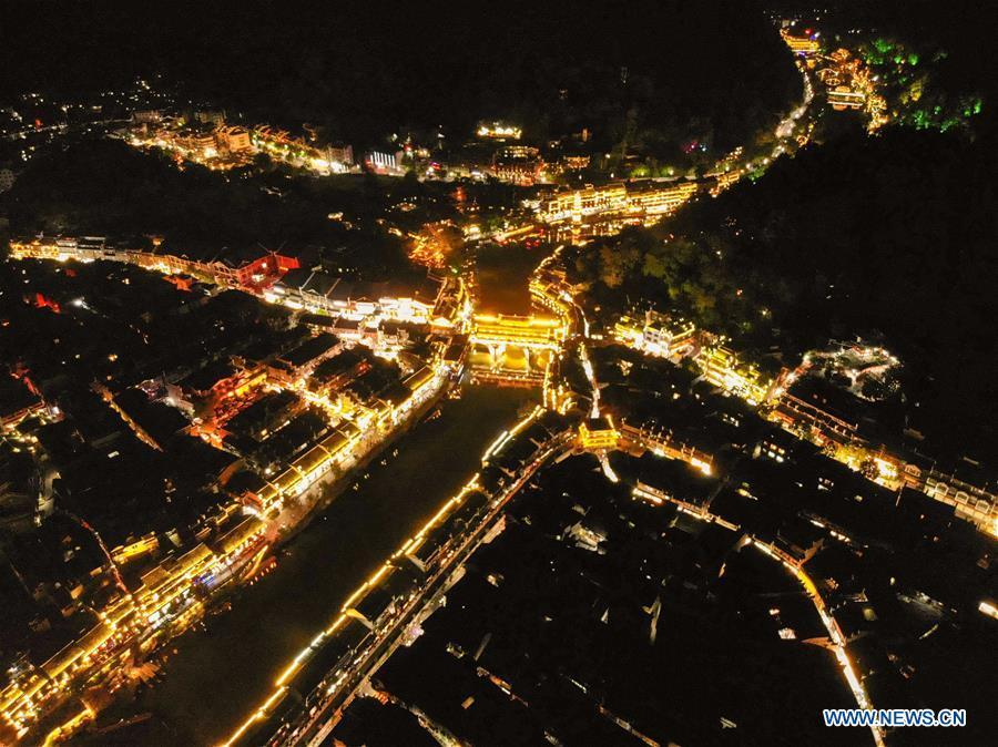 Aerial photo taken on Sept. 7, 2018 shows the night view of Fenghuang old town in Fenghuang County, central China\'s Hunan Province. Fenghuang, which means \