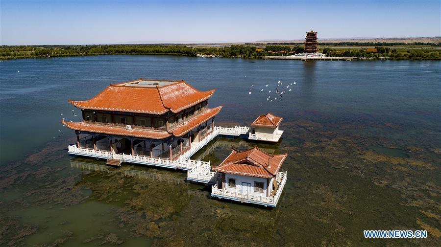 Aerial photo taken on Sept. 7, 2018 shows the scenery of Heihe River wetland in Gaotai County of Zhangye City, northwest China\'s Gansu Province. (Xinhua/Tao Ming)