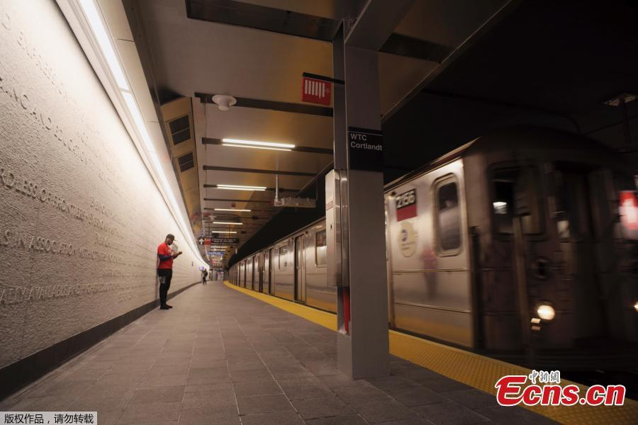 A downtown 1 train pulls into the newly-opened WTC Cortlandt subway station in New York, Sept. 8, 2018. The old Cortlandt Street station on the subway system\'s No. 1 line was buried under the rubble of the World Trade Center\'s twin towers on Sept. 11, 2001. Construction of the new station was delayed until the rebuilding of the surrounding towers was well under way. The new station cost $181 million and features a mosaic that uses words from the Declaration of Independence. (Photo/Agencies)