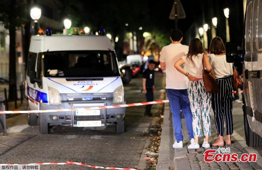 Police secures the area after seven people were wounded in knife attack downtown Paris, France, Sept. 10, 2018. Seven people including two British tourists were wounded Sunday in Paris after they were attacked by a man armed with a knife and an iron bar, according to police and other sources. (Photo/Agencies)