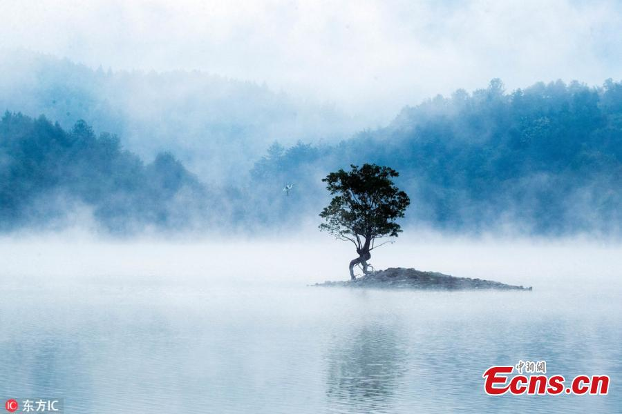 Mist drifts over Qishu Lake in Huangshan City in Anhui Province, Sept. 9, 2018. Surrounded by mountains, the lake is located two kilometers east of Hongcun Village, a UNESCO heritage site, and it is a tourist attraction known for its beautiful natural landscape. (Photo/IC)