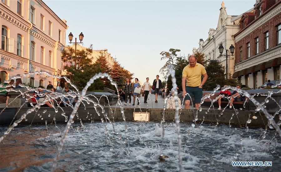 Photo taken on Sept. 9, 2018 shows downtown streets in Vladivostok, Russia. (Xinhua/Wu Gang)