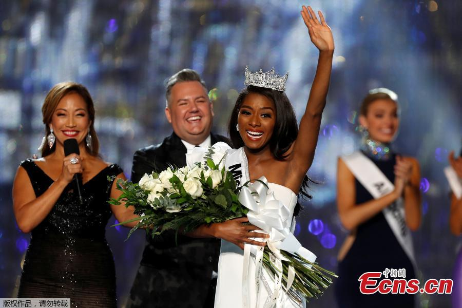 Miss New York Nia Imani Franklin reacts after she won Miss America 2019 on stage in Atlantic City, New Jersey, U.S., Sept. 9, 2018. (Photo/Agencies)