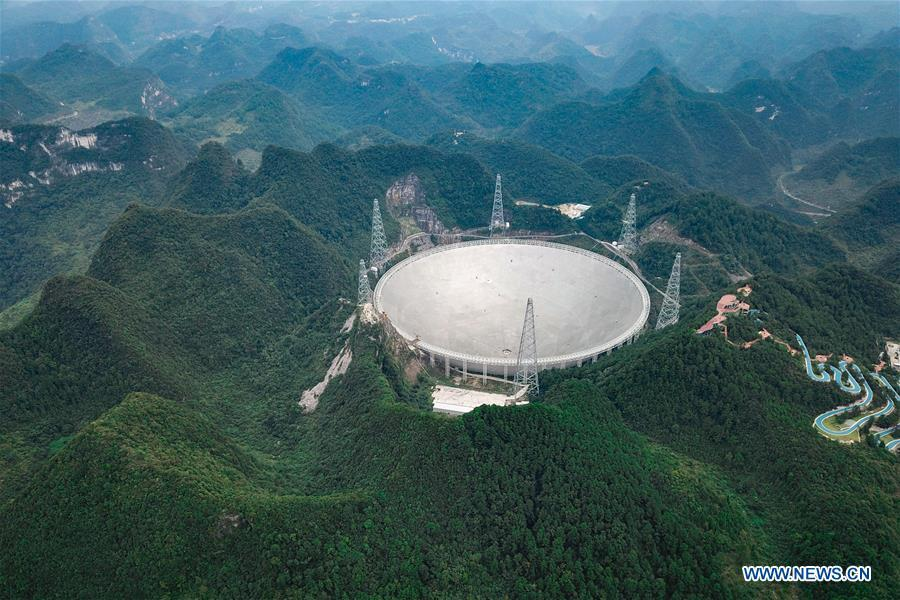 Photo taken on Sept. 10, 2018 shows China\'s Five-hundred-meter Aperture Spherical Radio Telescope (FAST) in southwest China\'s Guizhou Province. FAST has discovered 44 new pulsars so far. (Xinhua/Ou Dongqu)