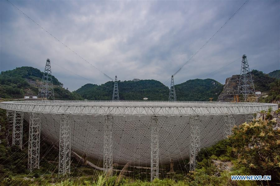 Photo taken on Sept. 10, 2018 shows China\'s Five-hundred-meter Aperture Spherical Radio Telescope (FAST) in southwest China\'s Guizhou Province. FAST has discovered 44 new pulsars so far. (Xinhua/Liu Xu)