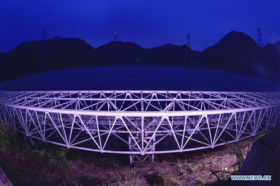 Photo taken on Sept. 11, 2018 shows China\'s Five-hundred-meter Aperture Spherical Radio Telescope (FAST) in southwest China\'s Guizhou Province. FAST has discovered 44 new pulsars so far. (Xinhua/Ou Dongqu)