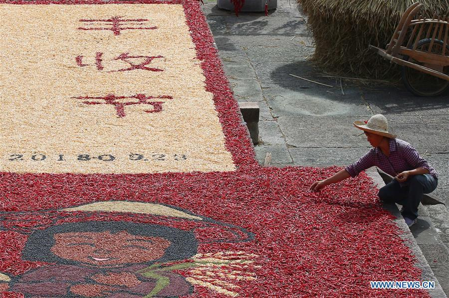 A villager airs crops at Chengkan Ancient Village in the city of Huangshan, east China\'s Anhui Province, on Sept. 12, 2018. (Xinhua/Shi Yalei)