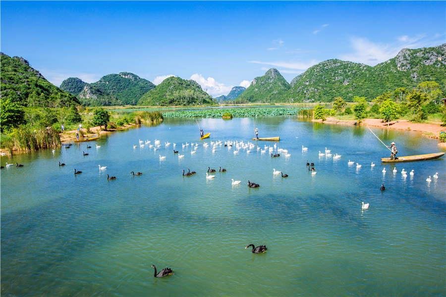 A view of Puzhehei scenic spot in Wenshan prefecture of Yunnan Province. (Photo provided to chinadaily.com.cn)