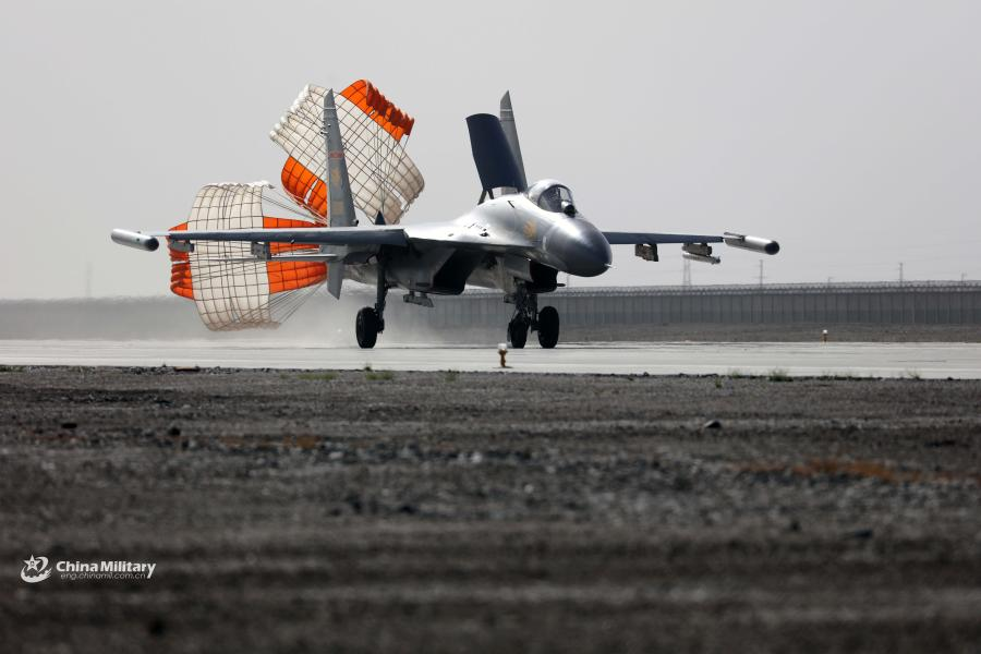 J-11 fighter jets take off for sortie