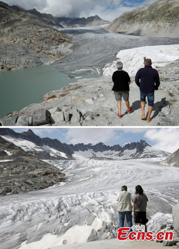 A combination of two pictures shows the difference in the amount of ice on the  Rhone glacier at the Furkapass, Switzerland September 13, 2018 (top) and July 5, 2008 (below). Glaciers and their streams were once abundant, but are vanishing as a result of climate change. Glaciologists predict that half of the small glaciers in Switzerland will disappear within the next 25 years. (Photo/Agencies)