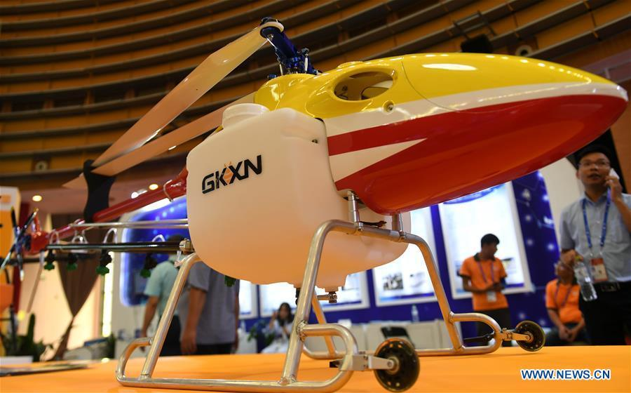 Photo taken on Sept. 13, 2018 shows a civilian drone at the 15th China-ASEAN Expo in Nanning City, south China\'s Guangxi Zhuang Autonomous Region. High-tech exhibits attracted many visitors at the expo. (Xinhua/Zhang Ailin)
