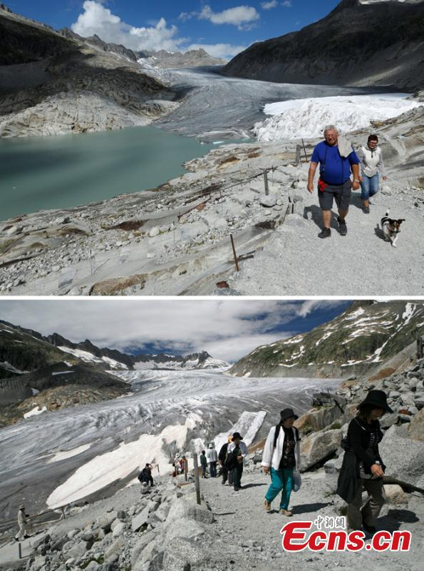 A combination of two pictures shows the difference in the amount of ice on the  Rhone glacier at the Furkapass, Switzerland September 13, 2018 (top) and July 5, 2008 (below).Glaciers and their streams were once abundant, but are vanishing as a result of climate change. Glaciologists predict that half of the small glaciers in Switzerland will disappear within the next 25 years.   (Photo/Agencies)