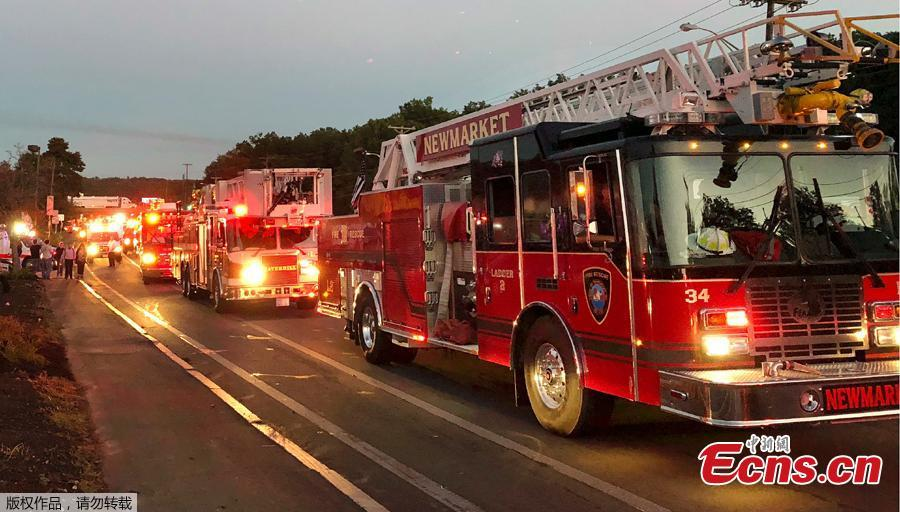 Multiple fire trucks from surrounding communities arrive Thursday, Sept. 13, 2018, in Lawrence, Mass., responding to a series of gas explosions and fires triggered by a problem with a gas line that feeds homes in several communities north of Boston. (Photo/Agencies)