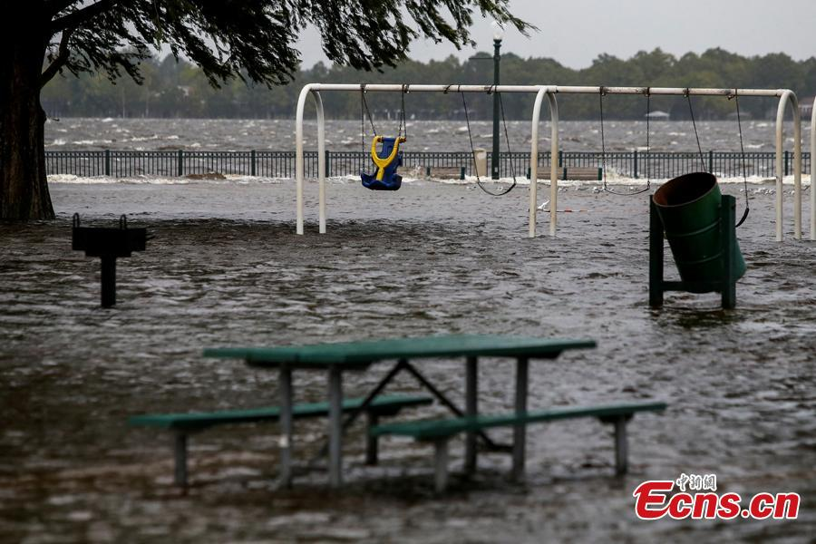 The Union Point Park Complex is seen flooded as the Hurricane Florence comes ashore in New Bern, North Carolina, U.S., Sept. 13, 2018. The outer bands of Hurricane Florence drenched the Carolinas on Thursday, flooding roads, gorging rivers and knocking out power in an ominous glimpse of the damage the storm could inflict when it makes landfall on Friday with millions of people in its path. (Photo/Agencies)