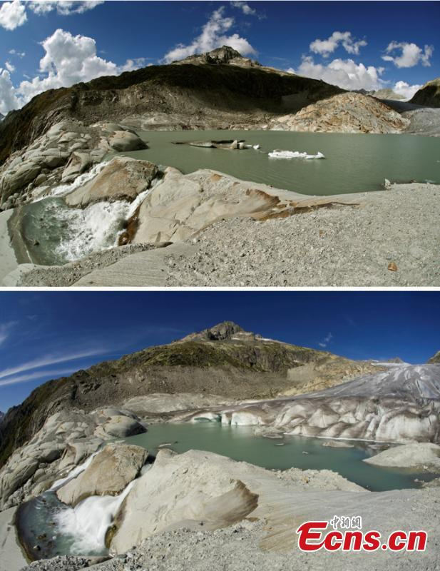 A combination of two pictures shows the difference in the amount of ice on the  Rhone glacier at the Furkapass, Switzerland September 13, 2018 (top) and September 9, 2009 (below). Glaciers and their streams were once abundant, but are vanishing as a result of climate change. Glaciologists predict that half of the small glaciers in Switzerland will disappear within the next 25 years. (Photo/Agencies)