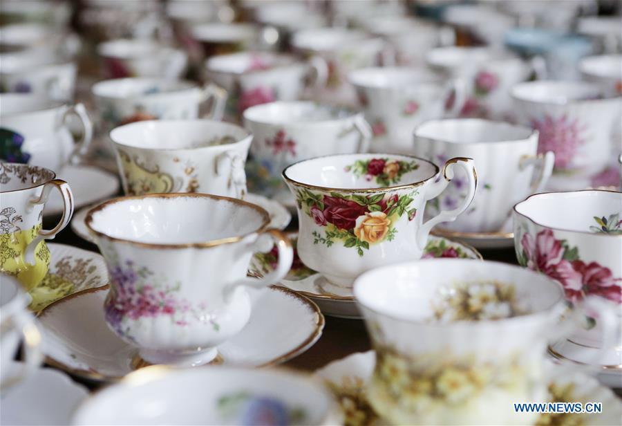 English teacups and saucers of teacup collector June Gao are seen in Vancouver, Canada, Sept. 13, 2018. (Xinhua/Liang Sen)