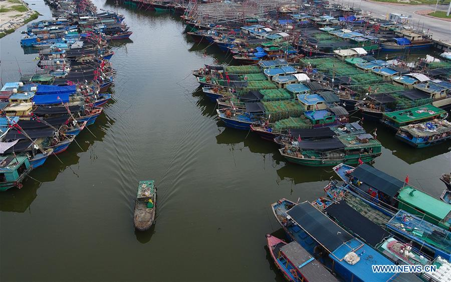 Aerial photo taken on Sept. 14, 2018 shows fishing boats berthed at a fishing port in Sanya, south China\'s Hainan Province. Mangkhut, the 22nd typhoon this year, is expected to land in south China\'s Guangdong and Hainan provinces on the night of Sept. 16. (Xinhua/Yang Guanyu)